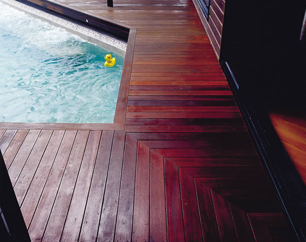Large image of Select Grade Forest Red Deck around Pool
